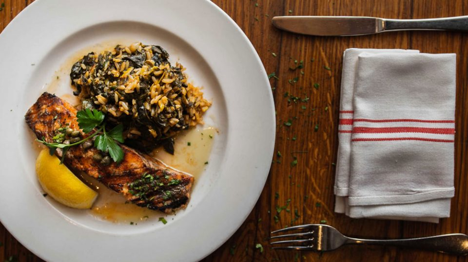 Grilled Salmon with Spinach and Rice